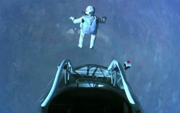 Felix Baumgartner al momento del lancio