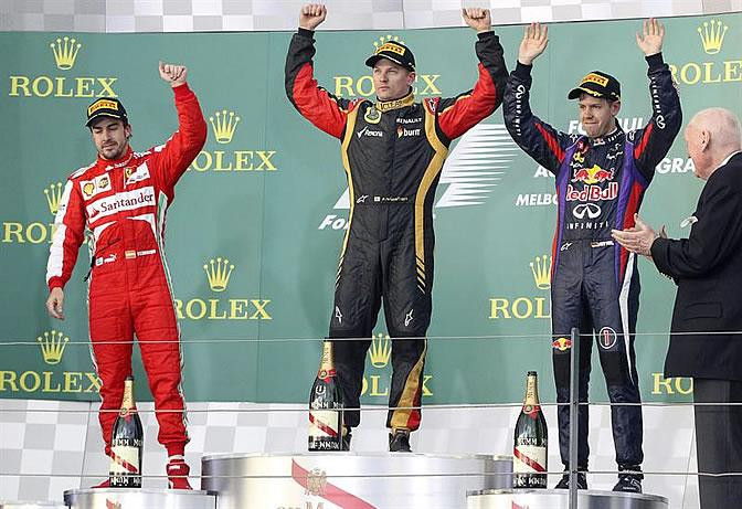 Il podio di Melbourne (GP d'Australia) - Alonso, Raikkonen e Vettel