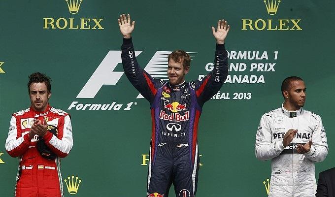 Il podio del GP del Canada: 1° Vettel, 2° Alonso e 3° Hamilton