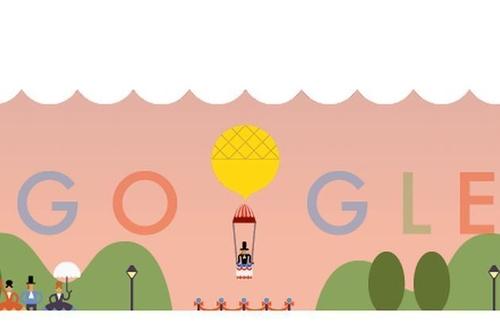 Il Google Doodle dedicato al primo lancio con il paracadute