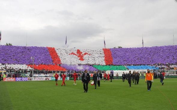La curva Fiesole prima di Fiorentina-Juventus 4-2