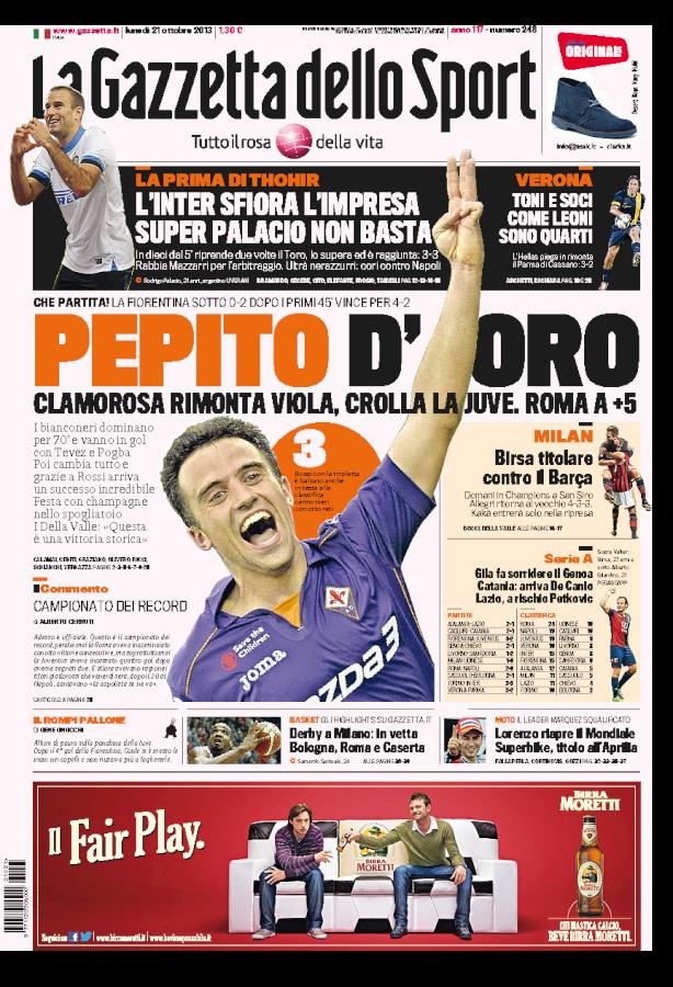 La Gazzetta celebra Pepito Rossi dopo il 4-2 alla Juventus