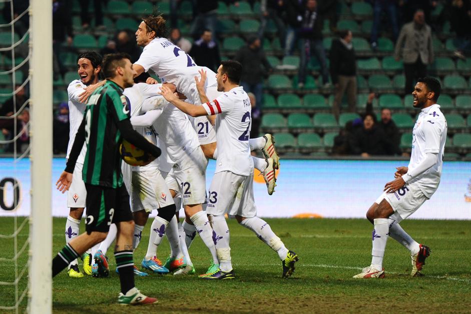 La Fiorentina festeggia il gol di Rossi