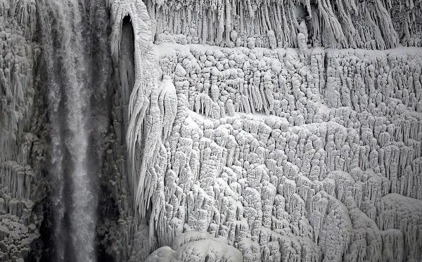 Un particolare del Ghiaccio sulle Cascate del Niagara