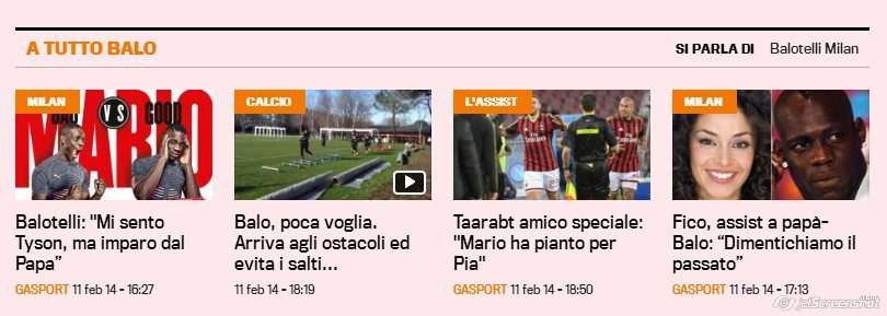 """La sezione """"A tutto Balo"""" della Gazzetta dello Sport"""