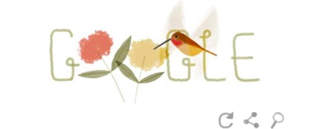 Il Google Doodle con il colibrì rosso per la Giornata della Terra