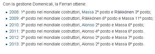 I risultati di Domenicali come capo della Gestione Sportiva della Ferrari