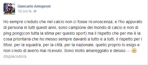 Le parole di Antognoni su Facebook