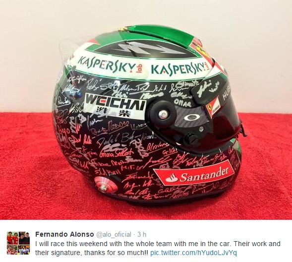 Su Twitter Alonso mostra il casco per Abu Dabi