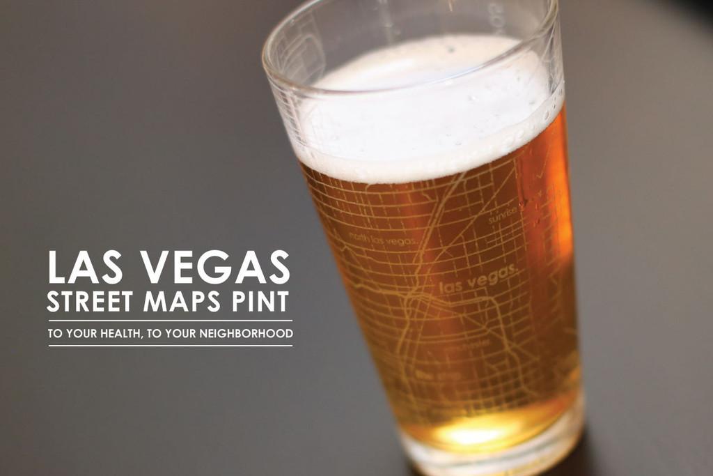 Bicchiere da Birra con la mappa di Las Vegas