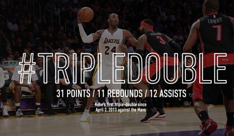 Tripla Doppia per Kobe Bryant contro Toronto