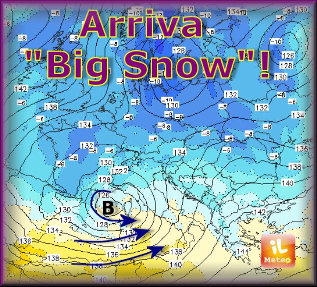 """Bomba di neve sull'Italia! Lo dice ilmeteo.it che annuncia il ciclone """"Big Snow"""""""