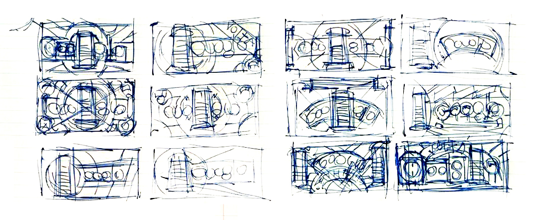 I bozzetti fatti a mano per il Doodle su Alessandro Volta
