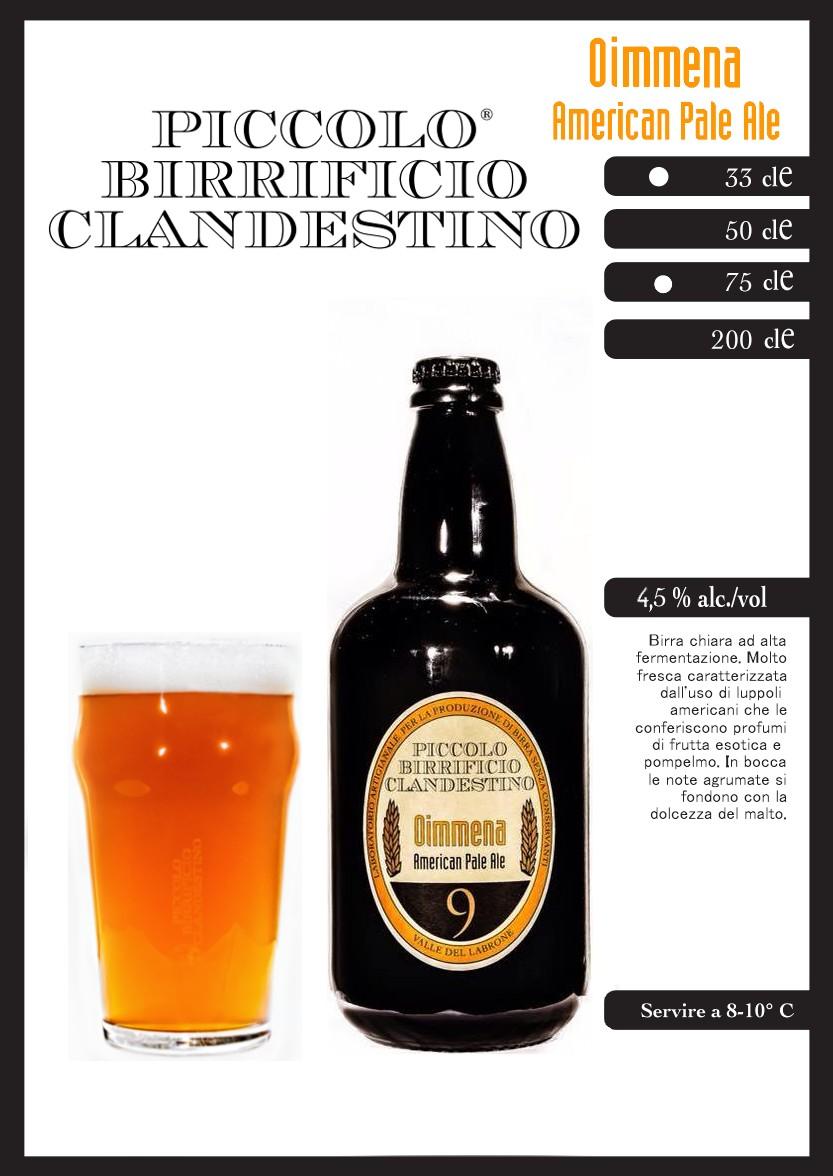 """Birra """"Oimmena"""" - Piccolo Birrificio Clandestino"""