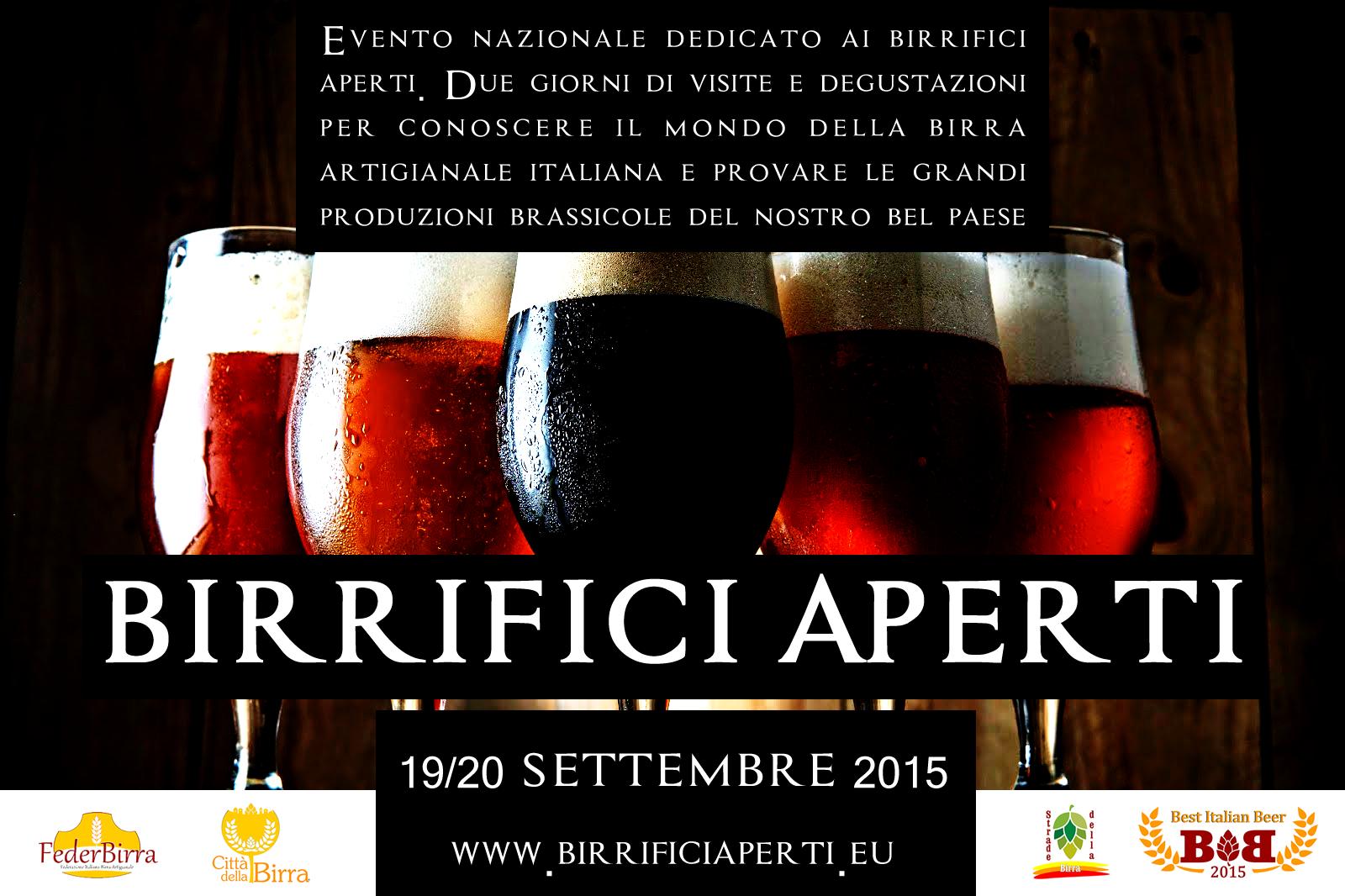 Birrifici Aperti 2015, alla scoperta della Birra Artigianale in Italia. Sabato 19 e Domenica 20 Settembre 2015