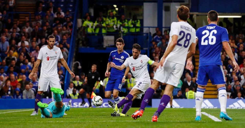 Gonzalo Rodríguez segna contro il Chelsea