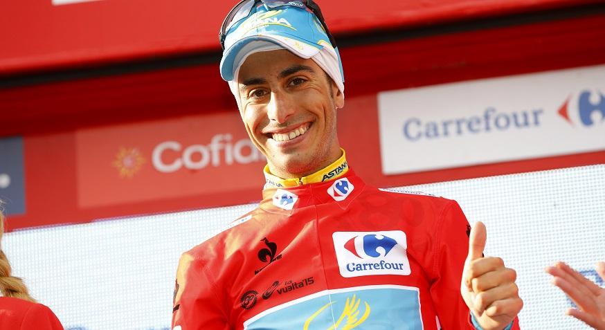 Fabio Aru in maglia rossa alla Vuelta 2015