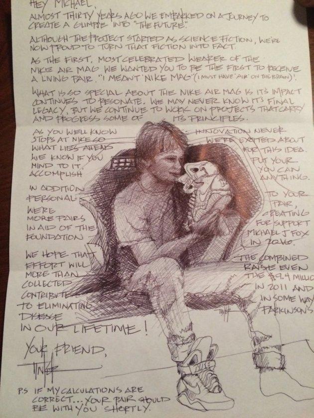 La lettera che Tinker Hatfield ha indirizzato a Michael J. Fox