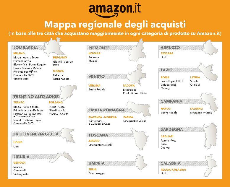 mappa regionale degli acquisti in Italia effettuati su Amazon