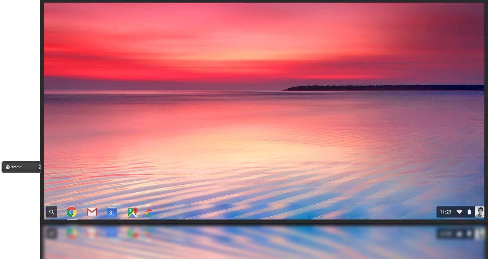 ASUS Chromebit CS10 installato su una TV