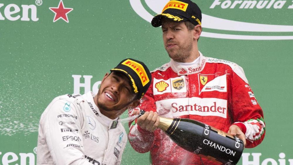 Vettel ed Hamilton sul podio