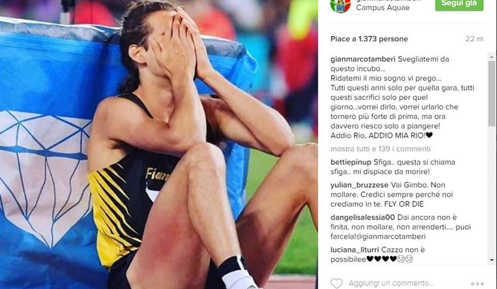 Il messaggio di Gianmarco Tamberi su Instagram