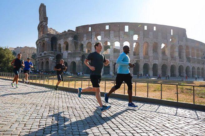 Mark Zuckerberg a Roma corre tra Colosseo e Circo Massimo