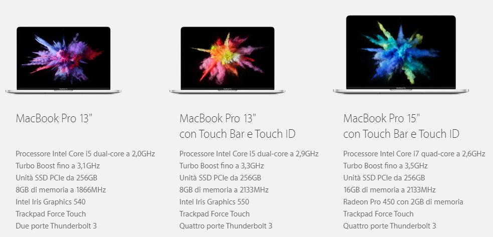 Ecco i 3 modelli di MacBook Pro