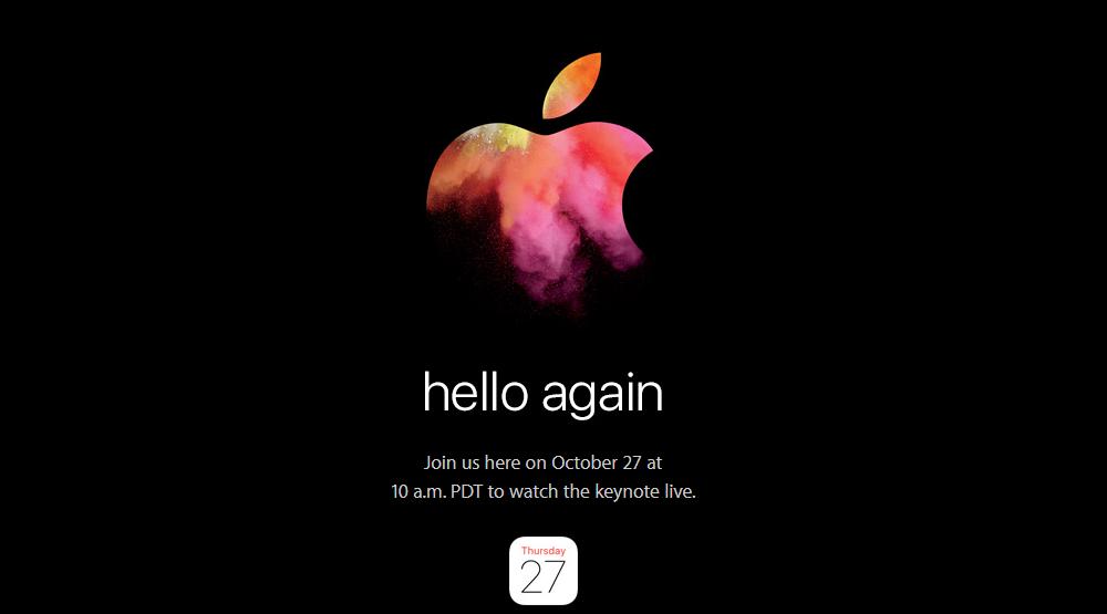 """""""Hello Again"""": Apple pianifica un evento per il 27 ottobre 2016. Saranno presentati i nuovi MacBook Pro"""