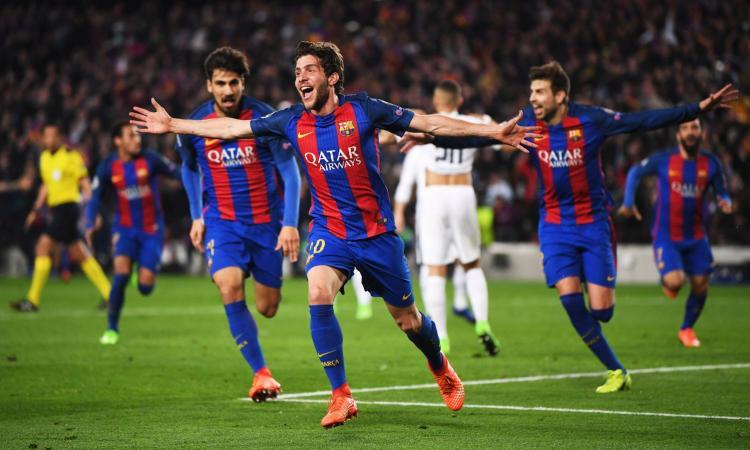 Sergi Roberto ed il Barcellona festeggiano il 6-1