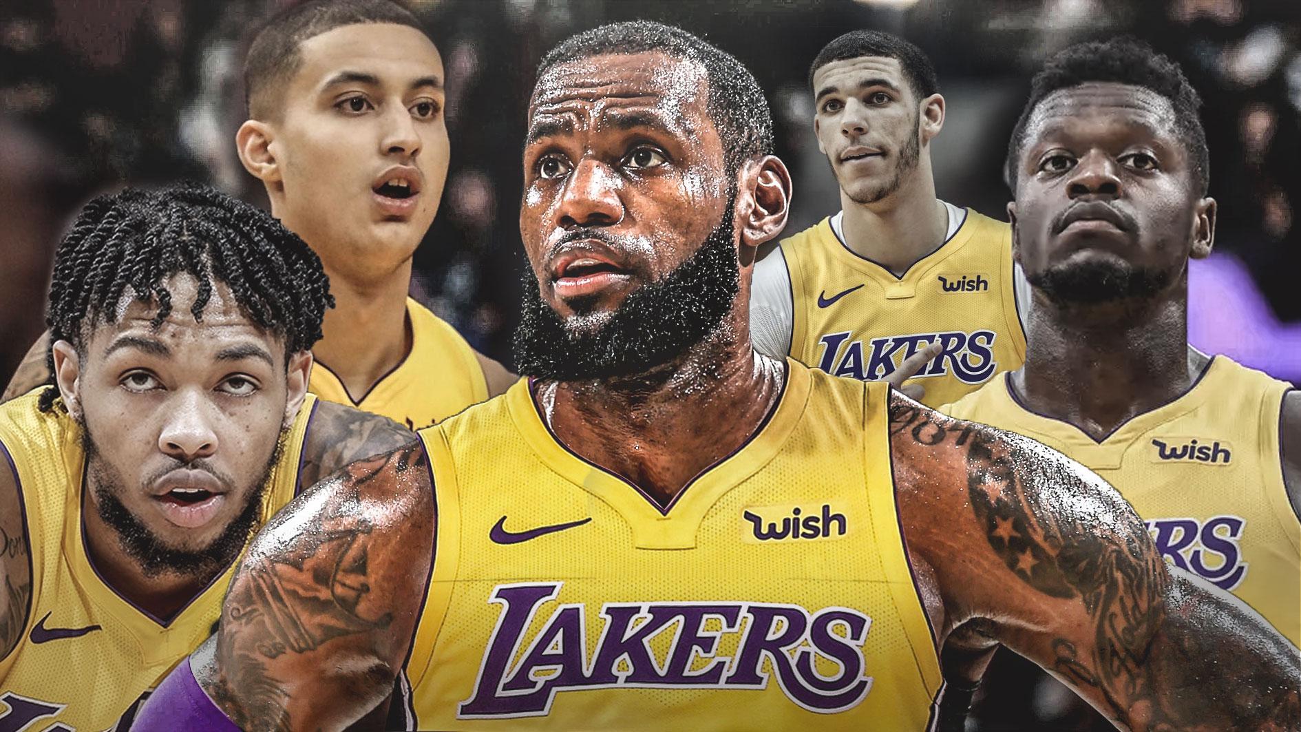 Il quintetto dei Lakers oggi
