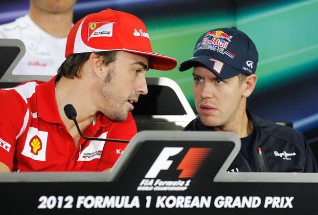 Alonso e Vettel in conferenza stampa in Korea