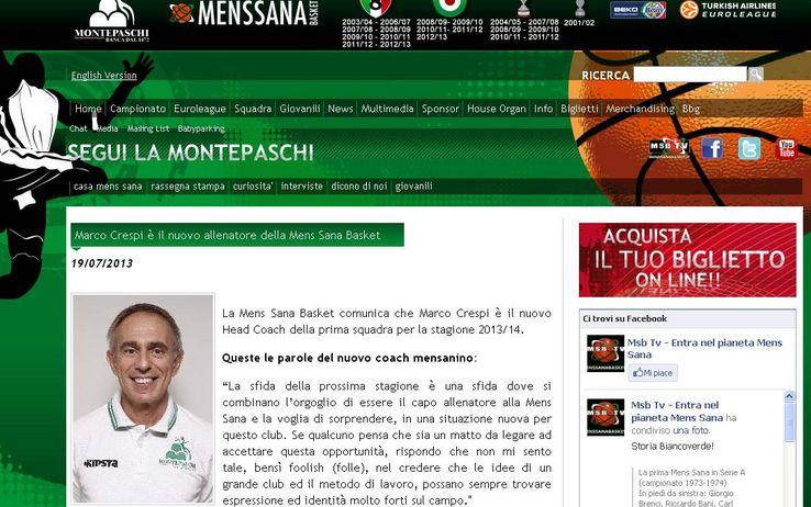Marco Crespi coach di Siena