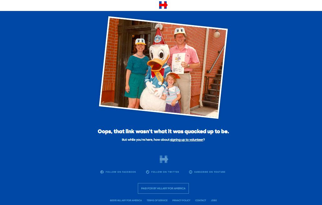 #HillaryClinton e la sua Pagina di errore 404