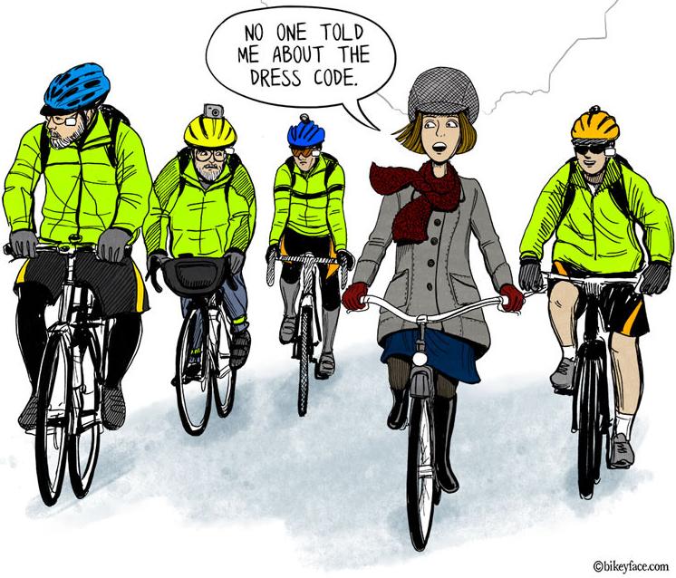 L'abito adatto in bicicletta...