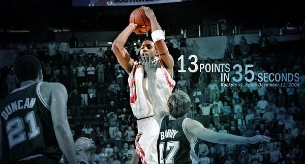 Tracy McGrady segna 13 punti in 35 secondi contro gli Spurs