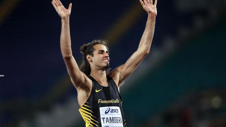 Gianmarco Tamberi dopo aver portato il record italiano a 2,39
