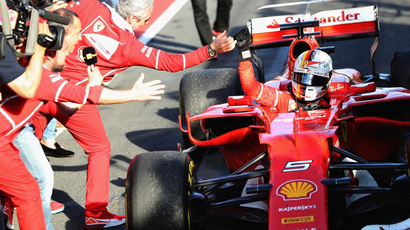 Vettel festeggia la vittoria