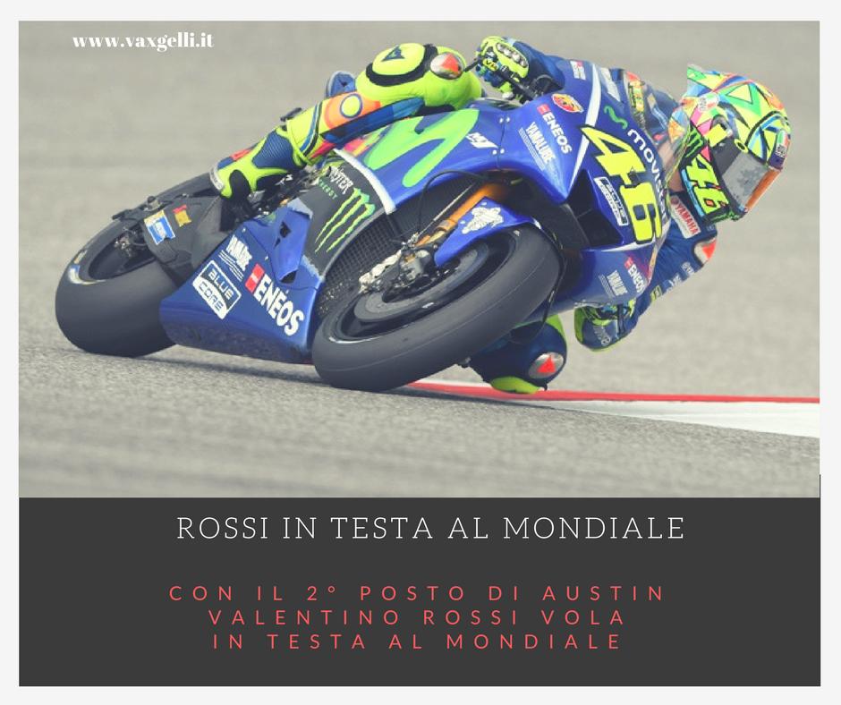 Rossi è secondo ad Austin e vola in testa al Mondiale