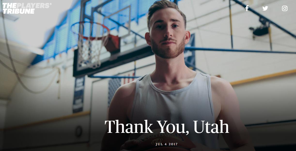 Gordon Hayward ringrazia Utah