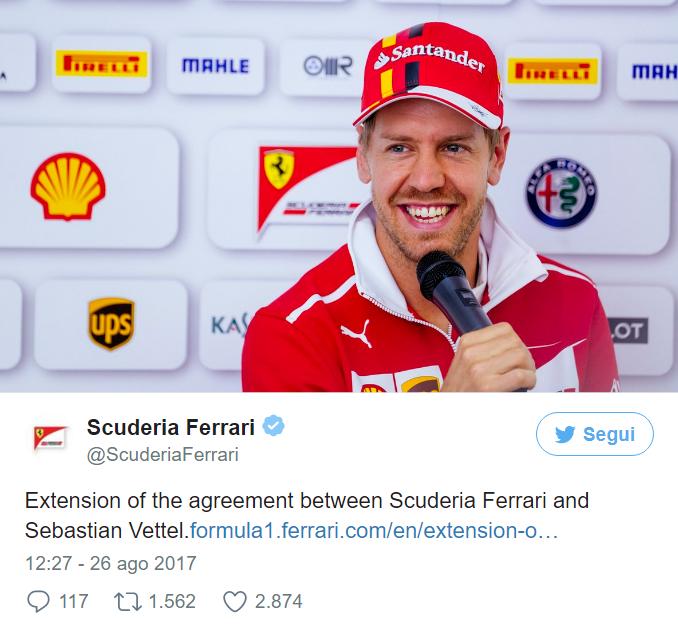 La Ferrari annuncia il rinnovo triennale con Vettel