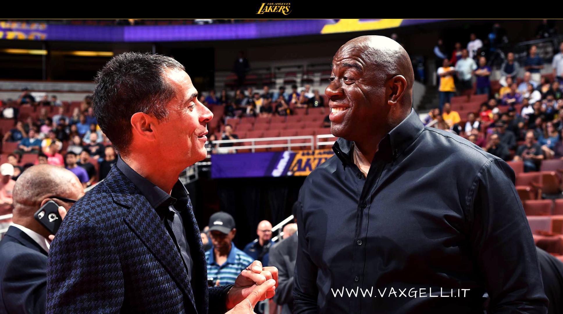 Magic Johnson e Rob Pelinka presentano i nuovi Lakers